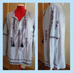 New pinstripe embroidered boho top Ruff Hewn